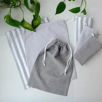 Набор эко мешочков Gray/White, эко пакеты, мешки для продуктов, хранения