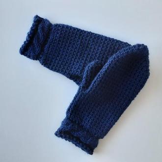 Темно синие варежки,  рукавицы унисекс вязаные
