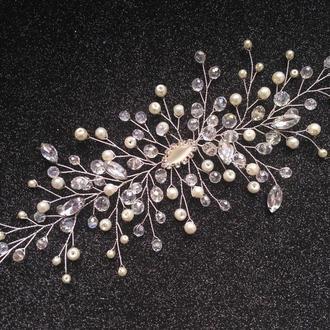 Свадебное украшение для волос, веточка в прическу, белое украшение в прическу