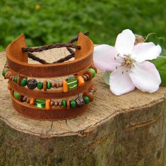 Кожаный браслет Бохо Весна