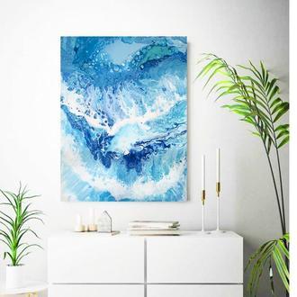 """Темная стильная абстракция """"Sea"""" 80х60 см интерьерная картина акрил холст море океан"""