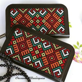 Кожаный кошелёк  с орнаментом