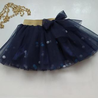 Юбка пачка темно синяя с помпонами, фатиновая юбка для девочки