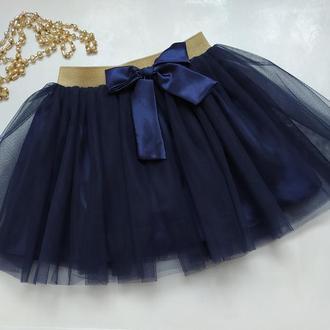 Юбка пачка темно синяя, фатиновая юбка для девочки