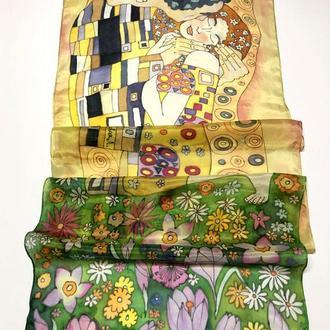 """Шелковый шарф """"Поцелуй"""" Г. Климт, натуральный шелк, 180*45 см"""