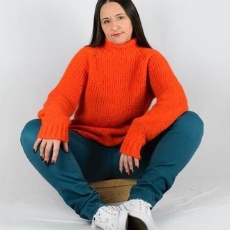 Свитер женский оверсайз Красно-оранжевый