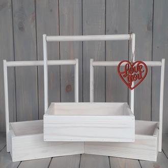 Деревянный декоративный ящик для подарка для цветов