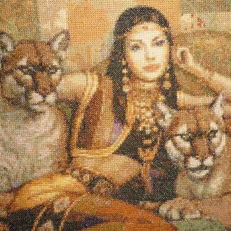 Вышивка Картина Индианка Рыси