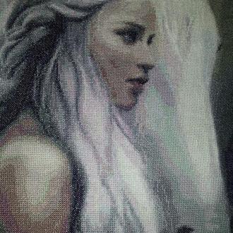 Картина вышивка крестом Лошадь Блондинка