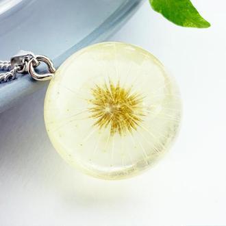 Подарок на 8 марта девушке Подвеска с одуванчиком кулон шар одуванчик (модель № 2794) Glassy Flowers