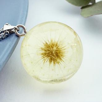 Подарок на 8 марта девушке Подвеска с одуванчиком кулон шар одуванчик (модель № 2795) Glassy Flowers