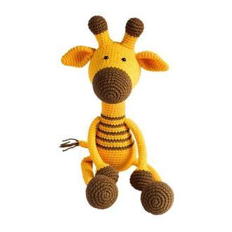 Вязаный жираф с длинными лапками. Игрушка для малыша. Первая игрушка. Подарок новорожденному.