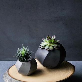 Набор 2 кашпо из бетона черного цвета Businko's+businko's big + мох или суккулент подарок