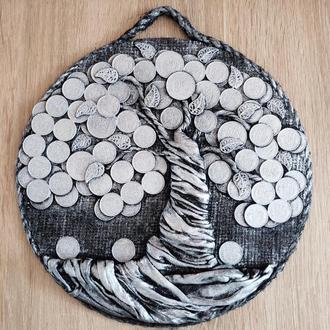 Монетное денежное дерево серебрянное панно