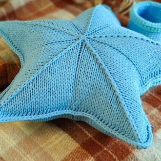 Вязаная звезда подушка, размер XXXL