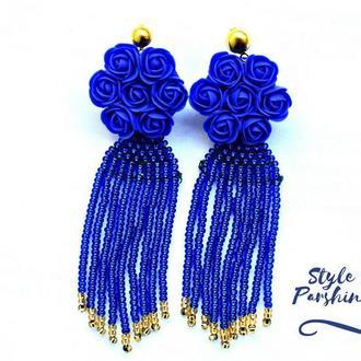 серьги оскар де ла рента , длинные серьги из полимерной глины, длинные серьги из бисера, синие розы