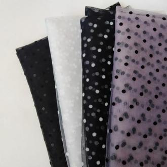 Набор ткани сетки для рукоделия с флоковыми горошками 4 шт.