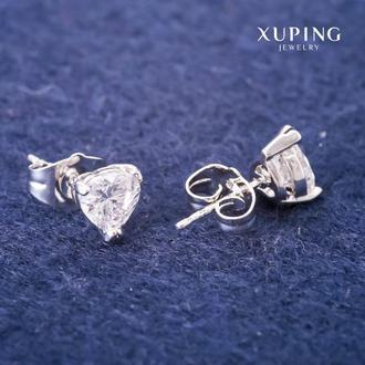 Серьги Xuping гвоздики Сердца с белыми камнями 7мм Родий Артикул: 36373