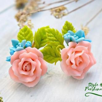 Серьги персиковые розы из полимерной глины, серьги бежевые розы из полимерной глины, серьги розы