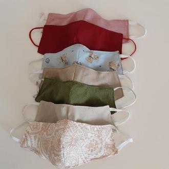 Маска многоразового использования из хлопковой, или льняной ткани