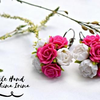 Серьги пионы из полимерной глины, серьги белые пионы, розовые розы серьги, серьги с цветами