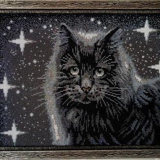 """Картина бисером """"Черный кот"""""""
