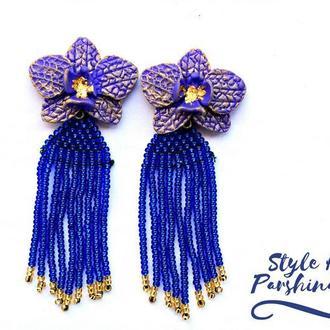 Серьги оскар де ла рента , синие длинные серьги , серьги кисточки из бисера, серьги орхидеи из полим