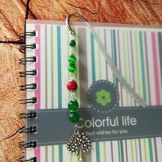 Закладка для книг Древо жизни - кошачий глаз, коралл, хризопраз \ Sz - 0008