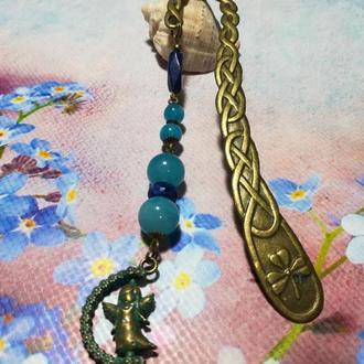 Закладка для книг Ангел патина - аквамарин, лазурит \ Sz - 0012