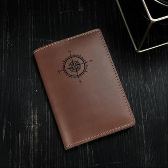 Кожаная обложка для паспорта с гравировкой