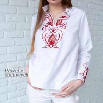 Белая хлопковая кружевная c цветной вышивкой женская рубашка ришелье. Эксклюзивная блуза. Вышиванка.