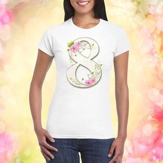 """Женская футболка с принтом """"Восьмерка белая. 8 Марта"""" Push IT"""