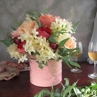 """Цветочная композиция """"Розовая пудра"""". Подарок на новоселье. Подарок на свадьбу. Подарок на юбилей"""