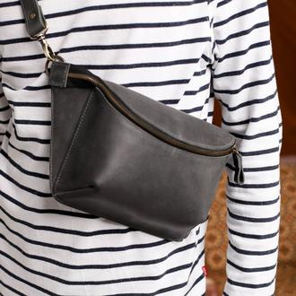 Поясна сумка унісекс сірого кольору  з натуральної шкіри