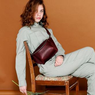 Бордовая женская поясная сумка бананка ручной работы из натуральной кожи