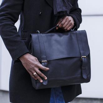 Мужская сумка из натуральной кожи для документов или ноутбука, классическая мужская сумка кожаная