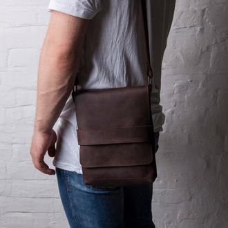 Мужская сумка через плечо  из натуральной коричневой кожи, мужской мессенджер кожаный