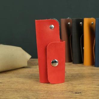 Ключница на одной кнопке, Кожа Итальянский краст, цвет Красный