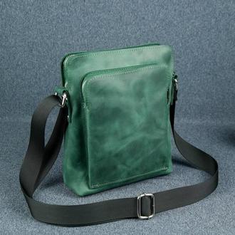 """Мужская сумка """"Модель №88"""", матовая кожа Crazy Horse, цвет зеленый"""