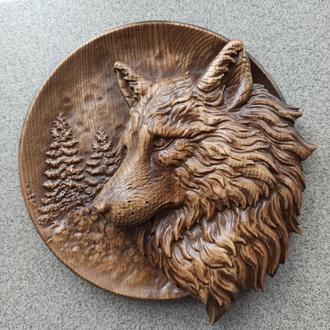 """Картина резная из дерева """"Волк"""""""