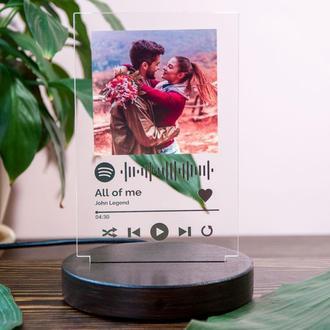 LED фото-светильник Spotify ночник с фото, подарок парню или девушке на годовщину