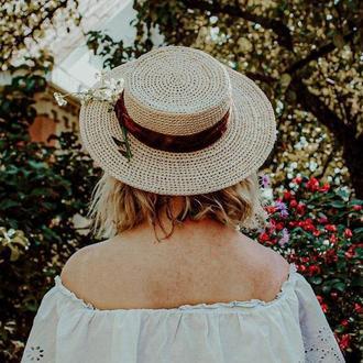 Летняя Шляпа Канотье из рафии