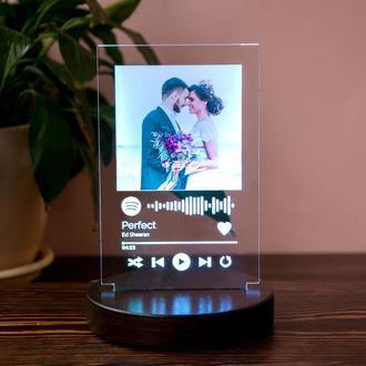 3D светильник Spotify с фото и песней для влюблённых, RGB ночник, печать фото на акриле
