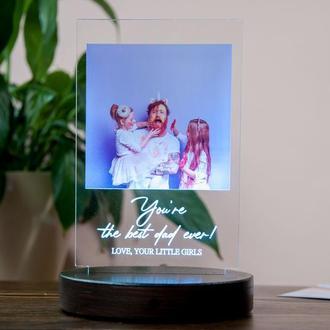 Фото светильник ночник с печатью надписи и фотографии на акриле, оригинальный подарок папе/маме/подр