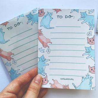 Блок для нотаток, щоденний записник, канцелярія з котиками, листи планера, щоденний планер