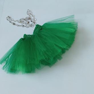 Детская фатиновая юбка, юбка для девочки зеленая