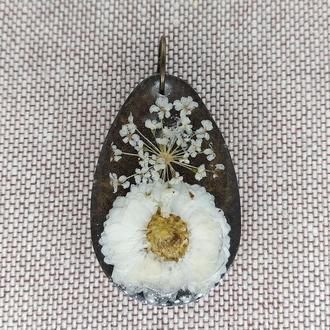 Кулон-подвеска Осенние цветы белые