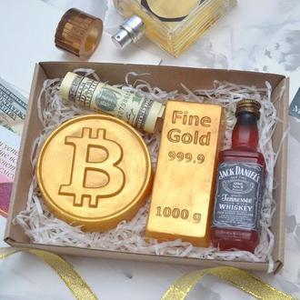 Набор мыла для мужчин богатство, виски, слиток золота, биткоин