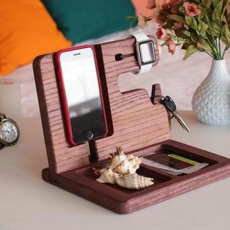 Органайзер для офиса, подарок в честь новой работы, подставка для гаджетов, держатель для часов