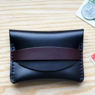 Кошелек для кредиток, визитных карточек, мелочи, купюр. Мини кошелек из американской кожи Horween